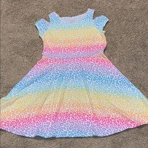 Girls Rainbow Cheetah Print Dress💖
